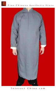 Fine Linen Grey Kung Fu Martial Arts Tai Chi Long Coat Robe XS-XL or Tailor Custom Made