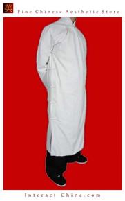 Fine Linen White Kung Fu Martial Arts Tai Chi Long Coat Robe XS-XL or Tailor Custom Made