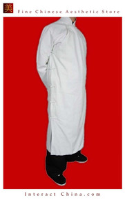 100% Cotton White Kung Fu Martial Arts Tai Chi Long Coat Robe XS-XL or Tailor Custom Made