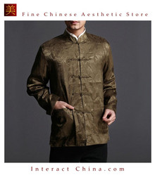 Chinese Tai Chi Kungfu Reversible Green / Yellow Jacket Blazer 100% Silk Brocade #102