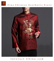 Stylish Red Kung Fu Men's Blazer Padded Jacket Dragon Shirt - 100% Silk #101