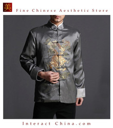 Stylish Grey Kung Fu Men's Blazer Padded Jacket Dragon Shirt - 100% Silk #103