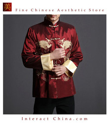 Stylish Red Kung Fu Men's Blazer Padded Jacket Dragon Shirt - 100% Silk #105