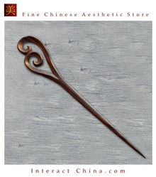 Luxury Solid Sandalwood Hair Accessories Stick Pin 100% Hand Carved Wood Art #128