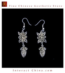 Tribal Silver Earrings Chinese Ethnic Hmong Miao Jewelry #318 Uniquely Handmade