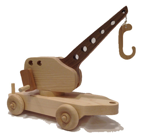 """Crane car features a real working crane with a handle that turns and a wooden hook on the end. Picks up the cargo in our Flat Car as well as other small objects that children seem to have in abundance. The crane car is 12"""" long x 4"""" wide."""