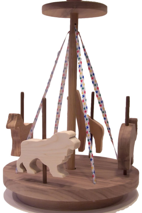 """For little girls and boys, our merry go round includes a horse, elephant, giraffe and lion. The colorful ribbon and ingenious design cause it to """"go round"""" with a toddler's help. Crafted out of oak, cherry, birch and walnut. The merry go round is 10"""" wide x 14"""" high"""