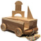 """Looking for a wagon on a rope filled with blocks like you played with yourself? Our 11""""long  x 8"""" wide cherry wagon is filled with 23 maple blocks in assorted shapes: squares, rectangles, triangles and the all-important arch for building a tunnel.  Finished with fine sanding. Why? So there are no paint chips or stains that might end up in a child's mouth. And because finely sanded hardwood is beautiful and smooth as glass."""""""