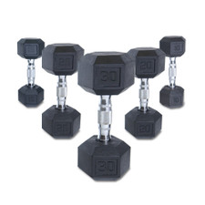 Rubber Hex Dumbbells with Contoured Handles