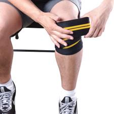 Model using CAP Barbell Elastic Knee Wraps, Pair