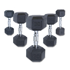 Rubber Hex Dumbbells with Contoured Handles Set
