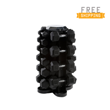 WF Athletic Supply 550lb Rubber Hex Dumbbell Set with 4-sided Vertical Rack