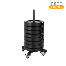 250 Lb Black Bumper Plate Set with Trolley Storage Rack (25 Lb Bumper Plate x 10)