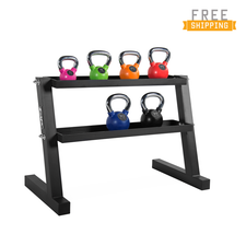 WF Athletic Supply 135lb Color Rubber Coated Kettlebell Set with Storage Rack