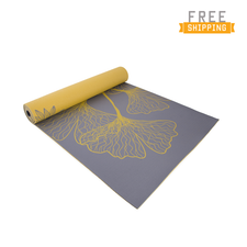CAP Yoga Eco-friendly Dahlia Ginkgo Reversible Yoga Mat with Carry Sling