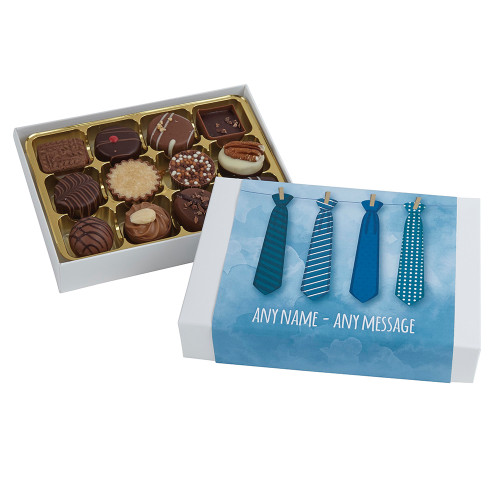 Father's Day containing twelve Luxury Chocolate Box in a Personalised Tie Guy design.