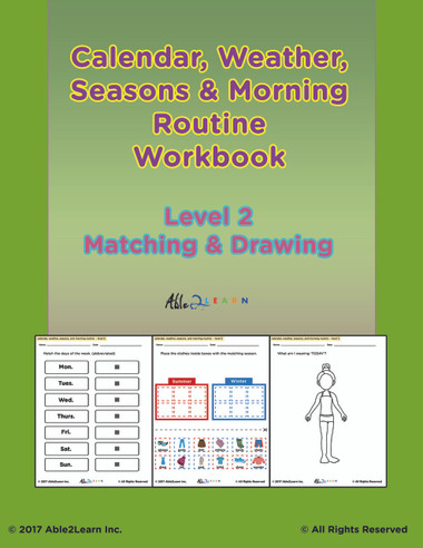 Free Morning Calendar Days Of Week Months Seasons And