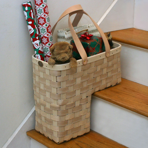 Peterboro Stair Basket with Genuine Leather Handles