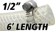 1/2 Inch Reinforced Clear Fuel Hose - 6 Foot Length (202036-6)