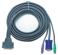 ATEN 2L-1605P: 15FT DB25(M)-HD15M/DIN6M KVM Cable F/CS-128A