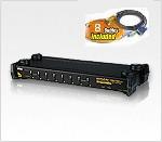 ATEN CS1758Kit: 8 port PS/2 USB OSD Rack Mountable 1U KVM Switch w/ 8 Cables