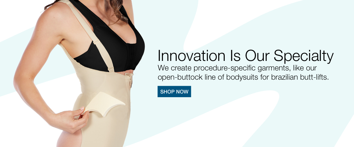 Medical procedure specific garments. Open buttock bodysuits for cosmetic surgery.