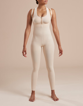 Ankle Length, Zipperless Compression Bodysuit with Full Back - Front View
