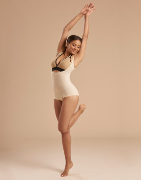 Very Short, Zipperless Compression Bodysuit with High Back - Durable Stretch Fabric