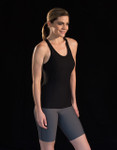 Marena Sport 105 racer back tank, seen here with the 22 core compression short for women (sold separately).
