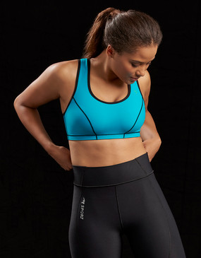 Marena Sport 100 classic compression sports bra, seen here with the 224 core compression short for women (sold separately).