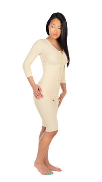 Marena Recovery FTRS/SM thigh length compression bodysuit with 3/4 sleeves.
