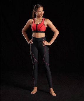 Marena Sport 226 core compression legging for women, seen here with the 100 classic compression sports bra (sold separately).