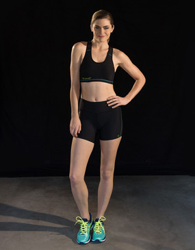 Marena Sport 216 pro compression shortie for women, seen here with the  104 athletic cup compression sports bra (sold separately).