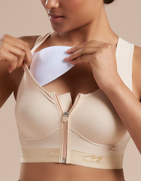 Women's recovery washable mastectomy pad beige, seen here with the B09Z seamless-cup bra with zipper (sold separately).