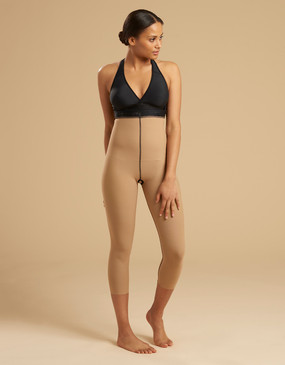 Marena Recovery LL1GM single zip compression girdle calf length, seen here with the ME-811 bra (sold separately).