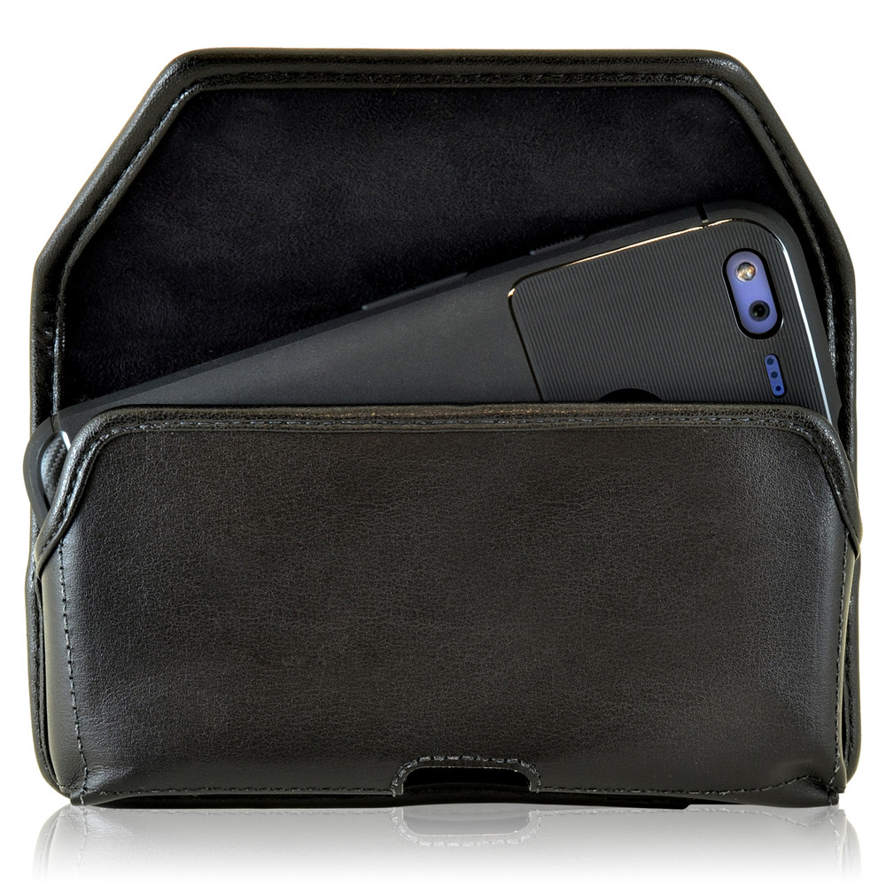 Google Pixel Belt Case, Google Pixel Holster, Black Leather Pouch with Heavy Duty Rotating Belt Clip, Horizontal