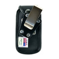 Samsung Convoy 4 Flip Phone Black Leather Fitted Case with Heavy Duty Rotating Removable Metal Belt Clip