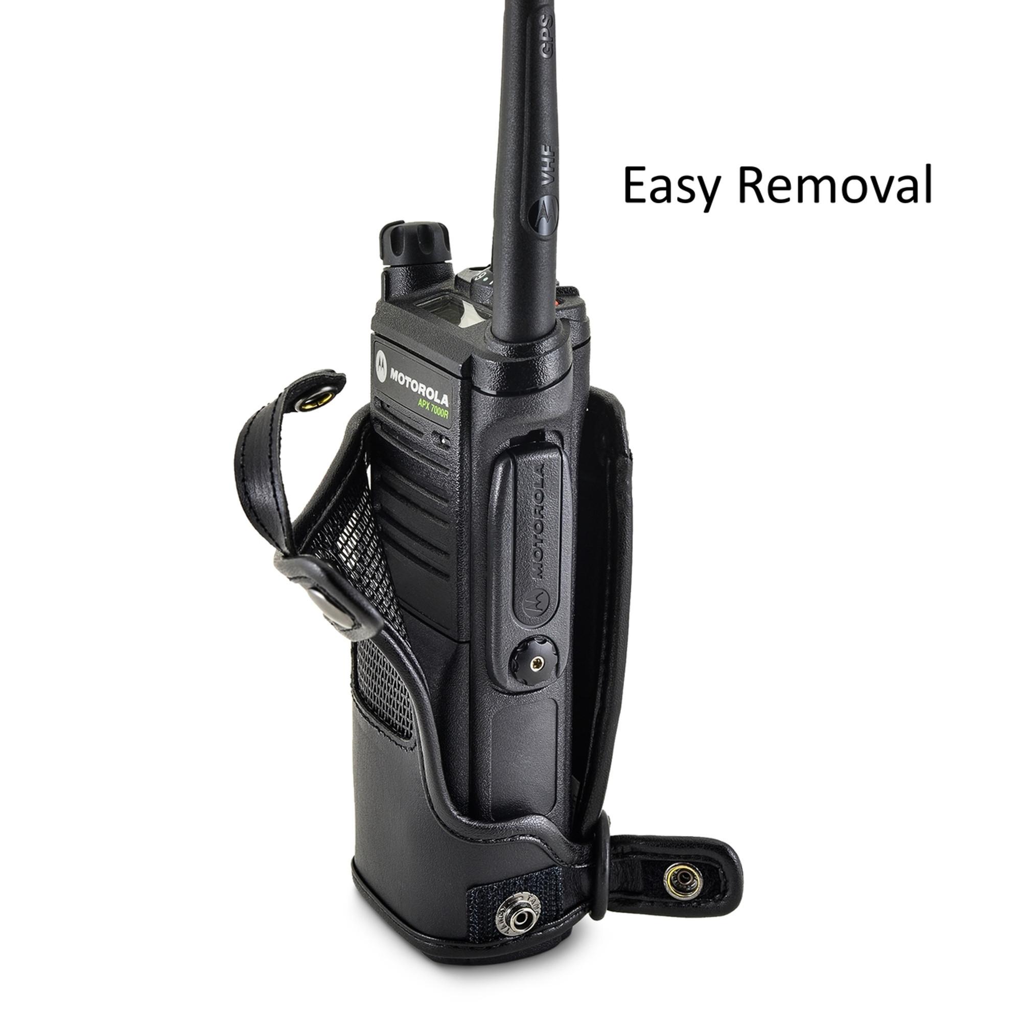 Radio holder motorola apx 6000 -  Motorola Apx 7000 Duty Belt Carry Holder Case Black Leather Holster With Heavy Duty Rotating Belt