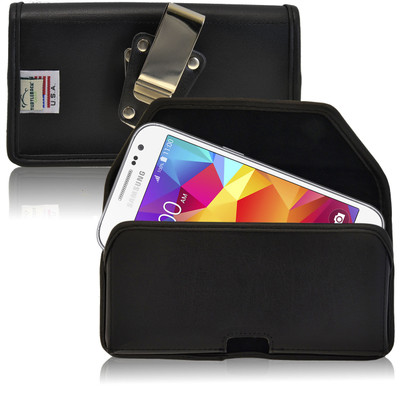 Galaxy Core Prime Leather Black Holster Case, Metal Belt Clip