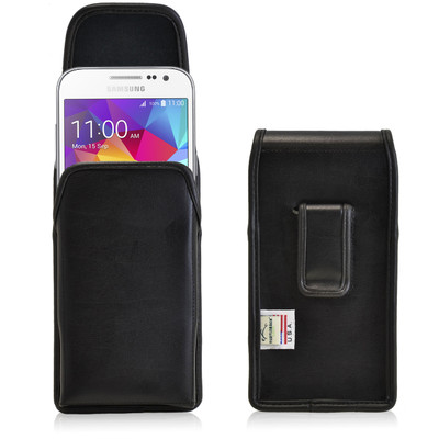 Galaxy Core Prime Vertical Leather Holster, Case Black Belt Clip