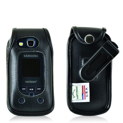 Samsung Convoy 4 Flip Phone Black Leather Fitted Case with Rotating Removable Belt Clip