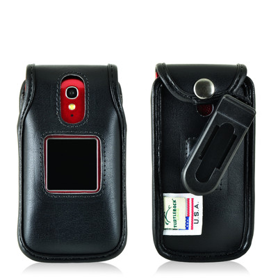 Jitterbug Flip Cell Phone Black Leather Fitted Case with with Rotating Removable Belt Clip