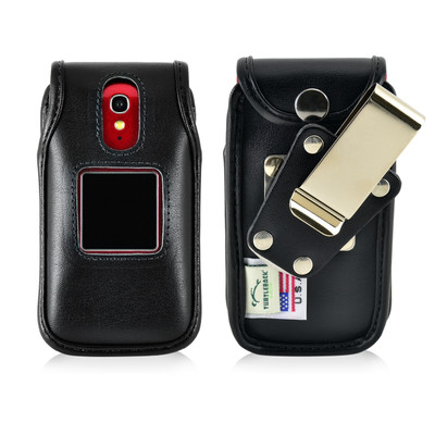 Jitterbug Flip Cell PhoneBlack Leather Fitted Case with Heavy Duty Rotating Removable Metal Belt Clip