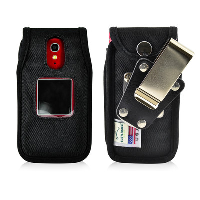 Jitterbug Flip Cell Phone Heavy Duty Nylon Fitted Case with Rotating Removable Metal Belt Clip