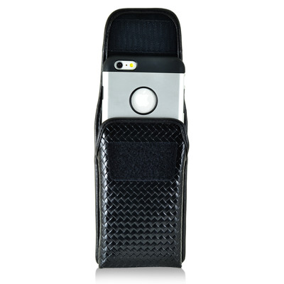 iPhone 6S Plus Samsung S7 Edge Police Pouch Holster Vertical Velcro Closure Black Basketweave Leather with Heavy Duty Rotating Belt Loop fits Slim Cases Made in USA