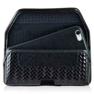 iPhone 6S Samsung S7 Police Pouch Belt Clip Horizontal Velcro Closure Black Basketweave Leather Holster Pouch with Heavy Duty Rotating Belt Loop fits Slim Cases