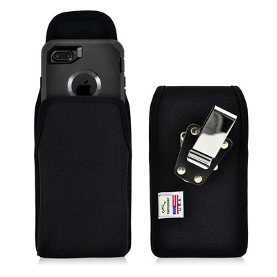 iPhone 8 and iPhone 7 Nylon Holster Vertical Metal belt Clip Fits Otterbox Defender Case