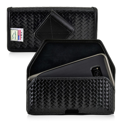 Galaxy S8 Police Leather Basketweave Holster Belt Clip Case