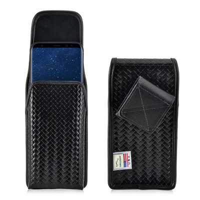 Galaxy S8 Plus Police Leather Basketweave Vertical Holster Belt Clip Case