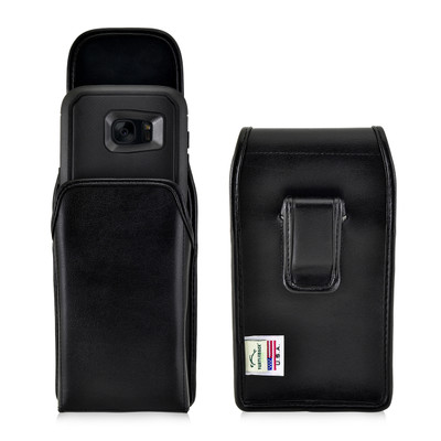 S7 Edge Leather Vertical Holster Black Clip Fits Otterbox Dender